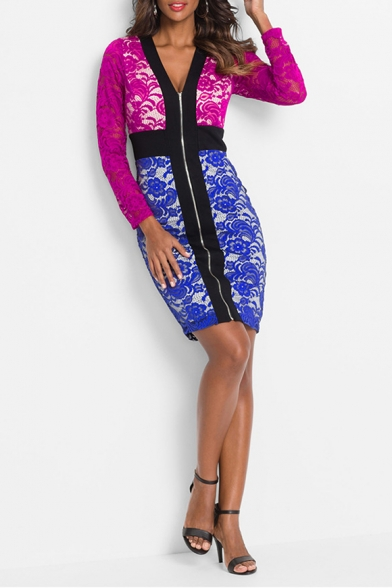 Womens Sexy Zipper V-Neck Long Sleeve Red and Blue Mini Lace Pencil Dress