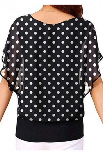 Womens Summer Fashion Polka Dot Printed Round Neck Batwing Sleeve Black Blouse Top