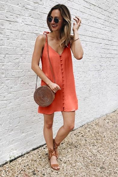 Womens Summer Hot Fashion Simple Plain Frog Button Front Sleeveless Mini Cami Dress