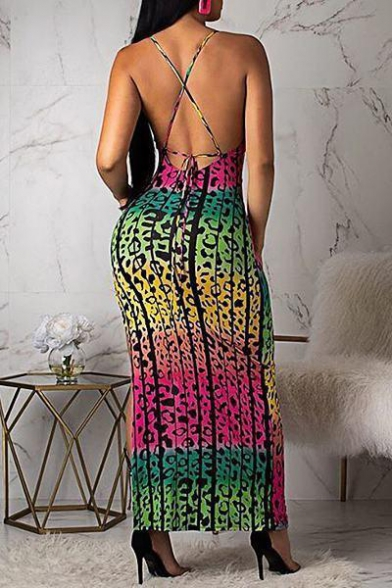 Womens Summer Sexy Scoop Neck Sleeveless Split Side Leopard Pattern Maxi Bodycon Cami Dress