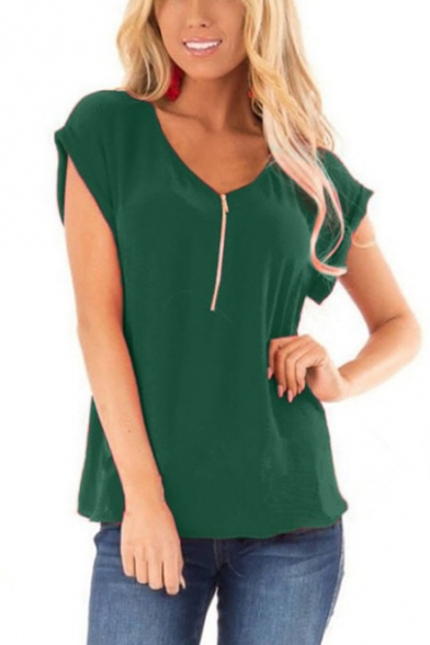 Womens Summer Simple Solid Color Zipper V-Neck Short Sleeve Casual T-Shirt