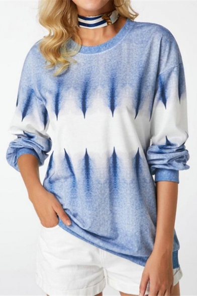 Blue Tie Dye Round Neck Long Sleeve Sweatshirt