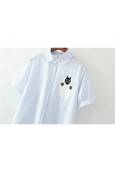 Cartoon Cat Embroidery Short Sleeve Casual Loose Striped Shirt