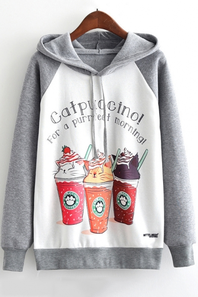 CATPUCCINO Letter Cartoon Cat Coffee Print Colorblock Long Sleeve Drawstring Hoodie