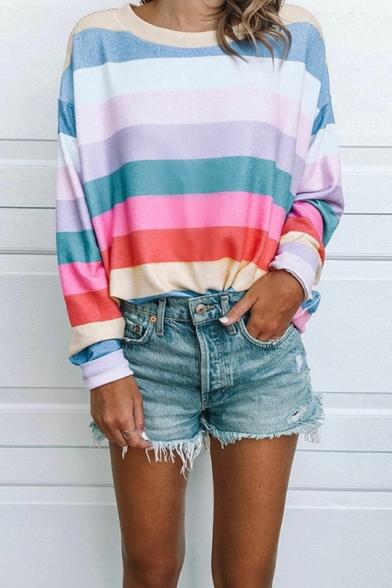 Colorblock Stripe Print Round Neck Long Sleeve Sweatshirt