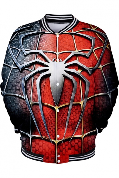 Cool 3D Spider Web Pattern Far From Home Rib Stand Collar Red Button Baseball Jacket