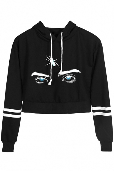 Cool Spider Eyes Pattern Striped Long Sleeve Cropped Casual Hoodie