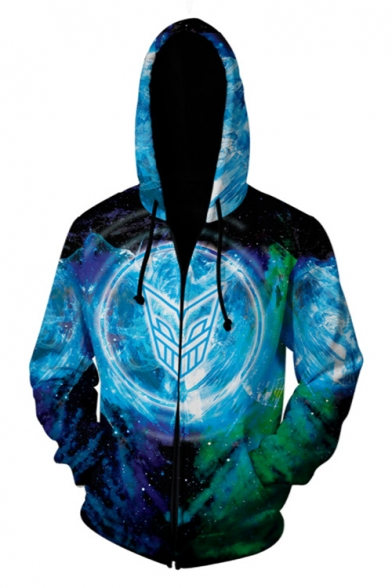 Cool Stylish 3D Galaxy Dragon Pattern Long Sleeve Cosplay Costume Zip Up Hoodie