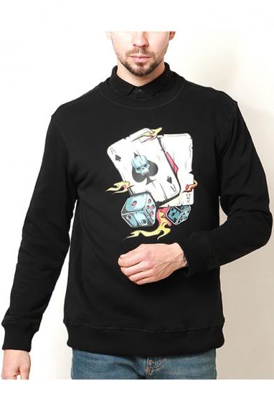 Cool Unique Dice Skull Poker Card Print Mens Black Basic Pullover Sweatshirt