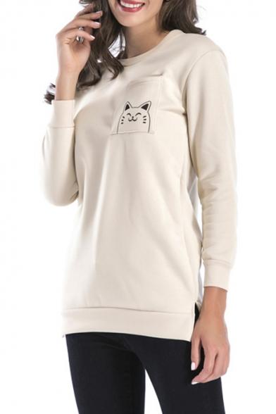 Cute Cartoon Cat Printed Round Neck Long Sleeve Split Side Tunic Pullover Sweatshirt