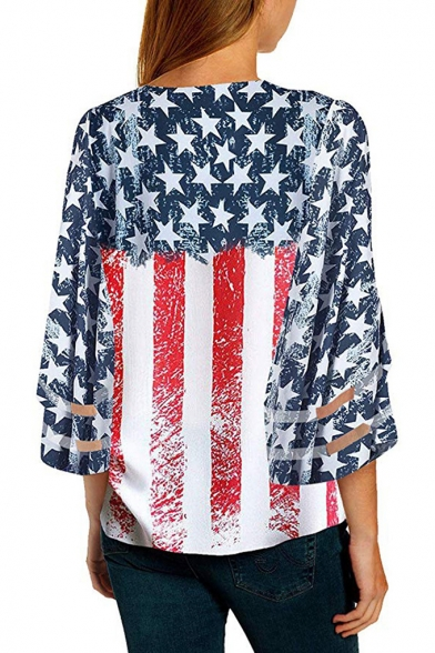 Fashion American Flag Pattern V-Neck Three-Quarter Sleeve Button Front Casual T-Shirt