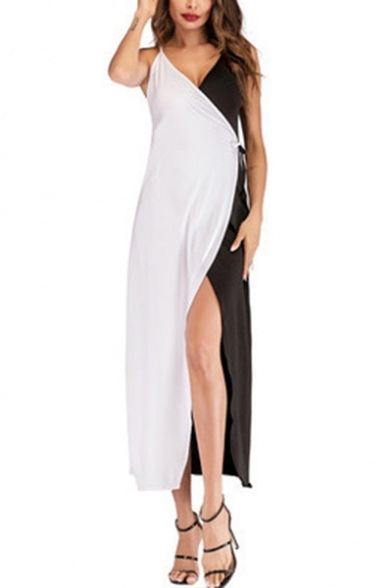 Fashion Black and White Two-Tone Tied Waist Maxi Cami Wrap Dress for Women