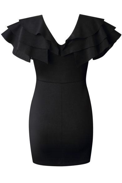 Fashion Black Flutter Sleeve V Neck Solid Color Mini Pencil Dress