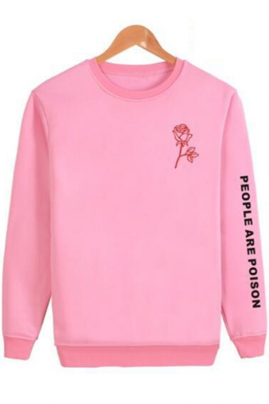 Floral Letter People Are Poison Round Neck Long Sleeve Pullover Unisex Sweatshirt