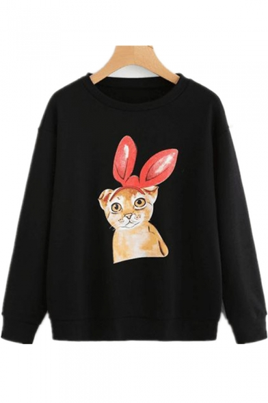 Hot Fashion Women's Cute Cartoon Rabbit Printed Round Neck Long Sleeve Black Pullover Sweatshirt