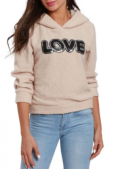 Hot Stylish Women's LOVE Letter Print Long Sleeve Apricot Fleece Hoodie