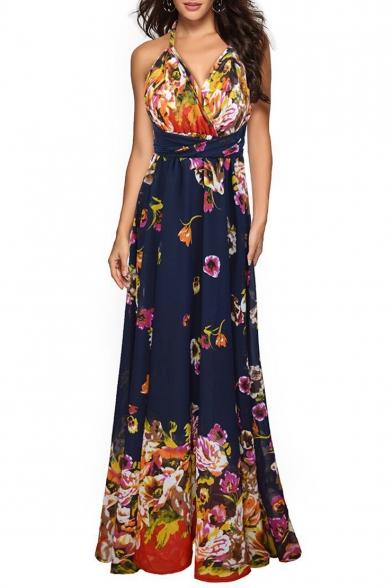 New Style Floral Pattern V-Neck Sleeveless Bow-Tied Waist Maxi Slip Chiffon Dress
