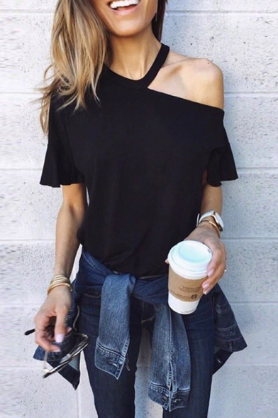 New Stylish Simple Solid Color Cold Shoulder Short Sleeve T-Shirt for Women