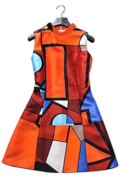 New Unique Fashion Geometric Pattern Stand Collar Sleeveless Mini A-Line Orange Dress