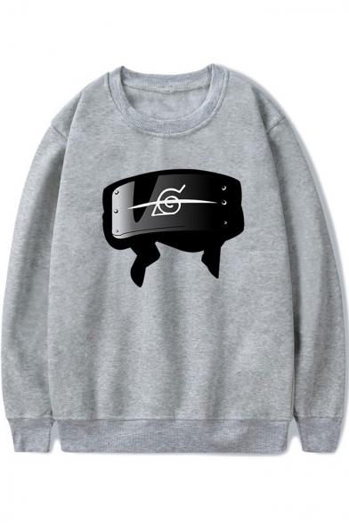 Popular Comic Anime Logo Printed Round Neck Long Sleeve Pullover Sweatshirt