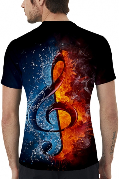 Popular Ice and Fire Musical Note 3D Printed Round Neck Short Sleeve T-Shirt