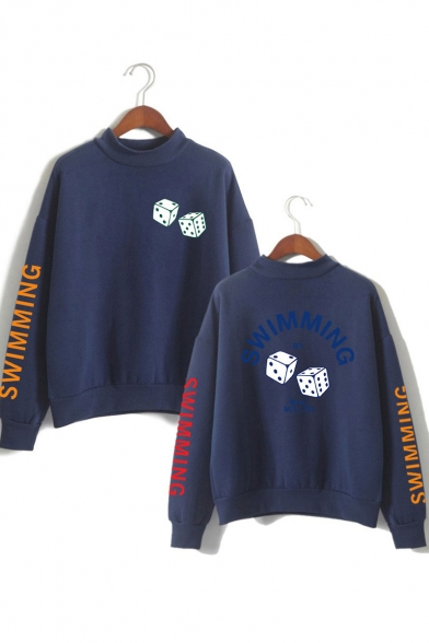 Stylish Dice SWIMMING Printed Mock Neck Long Sleeve Unisex Sport Loose Sweatshirt