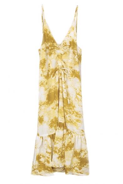 Summer Chic Stylish Tie Dye V-Neck Sleeveless Drawstring Frint Maxi Ruffle Cami Dress