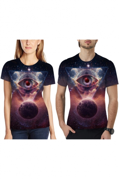 Summer Cool Galaxy Triangle Eye Printed Round Neck Short Sleeve T-Shirt