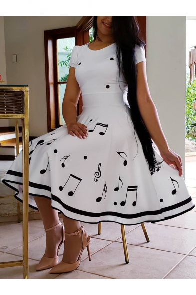 Summer Fashion Musical Symbol Print Round Neck Short Sleeve Midi T-Shirt A-Line White Dress