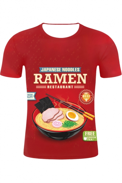 Summer Funny Japanese Noodles Ramen 3D Printed Short Sleeve Round Neck Red Tee