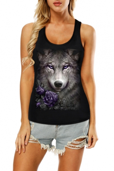 Summer New Stylish 3D Wolf Printed Scoop Neck Hollow Out Back Black Fitted Tank Top