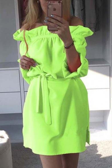 Summer Popular Candy Color Simple Plain Ruffled Off the Shoulder Split Side Mini Sheath Dress