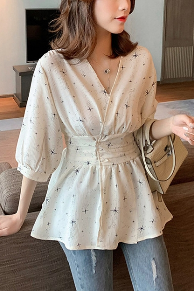 Summer Unique Allover Star Printed V-Neck Gathered Waist Blouse Top for Women