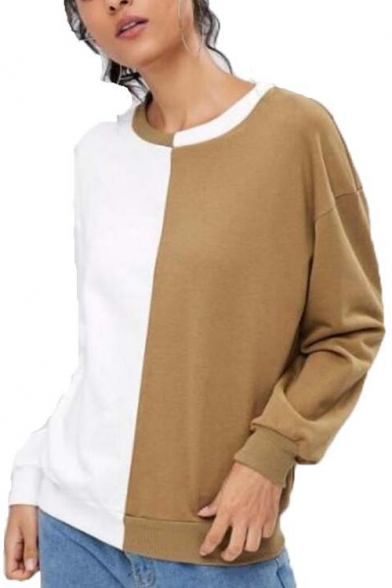 Trendy Color Block White and Khaki Round Neck Long Sleeve Pullover Sweatshirt