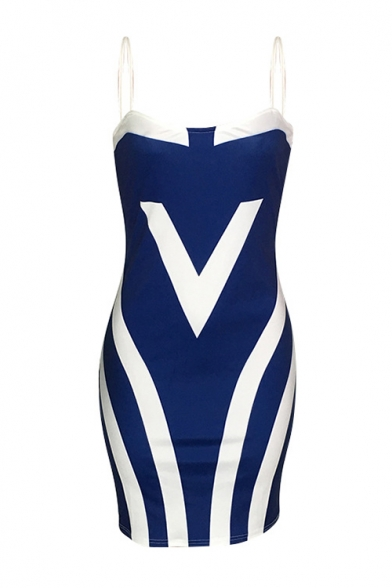 Trendy Sexy Blue and White Stripe Printed Spaghetti Straps Sleeveless Slip Bodycon Dress