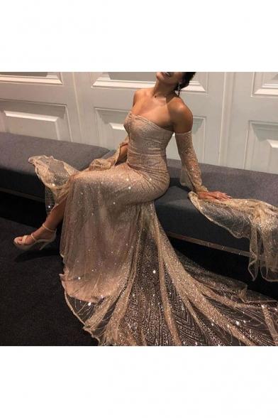 Women's Fashion Off The Shoulder Long Sleeve Plain Beaded Detail Maxi Bandeau Apricot Dress