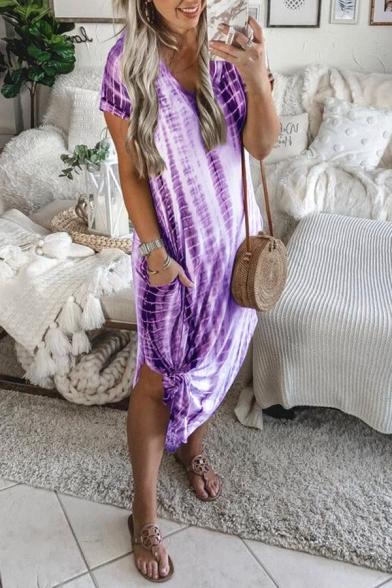 Women's New Trendy Tie-dye Printed V-Neck Short Sleeve Split Side Midi T-shirt Dress