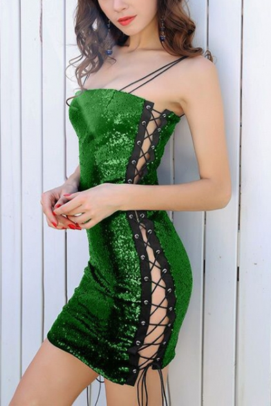Women's Sexy Hollow Out Eyelet Lace-Up Side Green Mini Bodycon Sequined Night Club Cami Dress