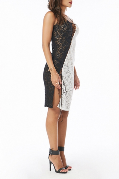 Women's Sexy Hollow Out Lace Patched Sleeveless Black and White Knee Length Dress