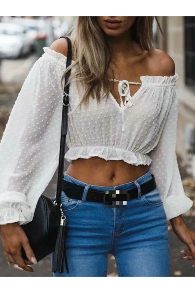 Women's Sexy Off the Shoulder Lantern Long Sleeve Cropped White Blouse Top