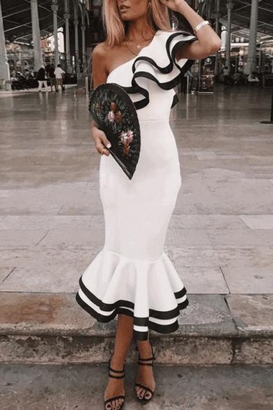 Women's Vintage One Shoulder Short Sleeve Plain Contrast Hem Midi Bodycon White Dress