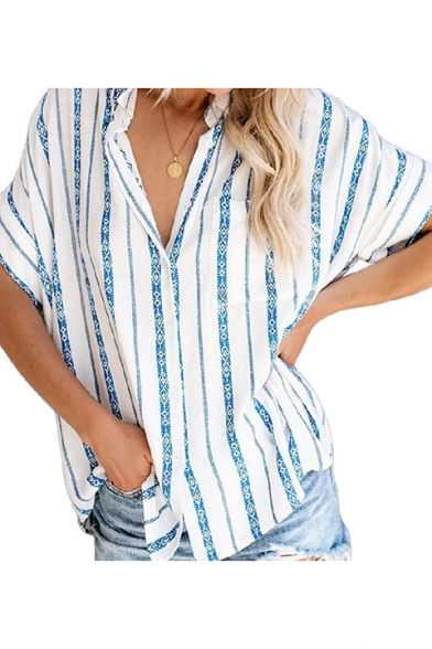 Womens New Trendy Vertical Striped Print Casual Loose Button Down Shirt