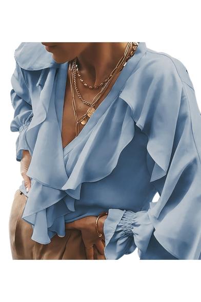 Womens Popular Trendy Simple Plain V-Neck Ruffled Hem Bell Sleeve Stylish Blouse Top