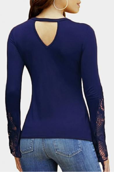 Womens Trendy Simple Plain Twist V-Neck Lace Long Sleeve Slim Fit T-Shirt