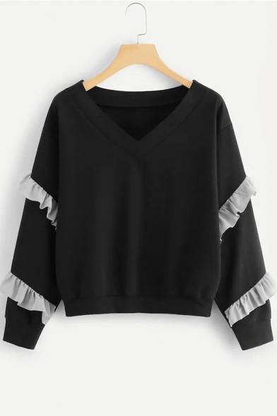 Black V-Neck Ruffle Trim Long Sleeve Plain Pullover Sweatshirt