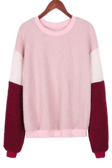 Colorblock Long Sleeve Round Neck Pink Fleece Casual Pullover Sweatshirt