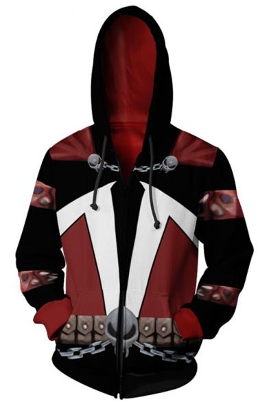 Cool Chain Skull Popular Comic Cosplay Costume Long Sleeve Zip Up Casual Hoodie