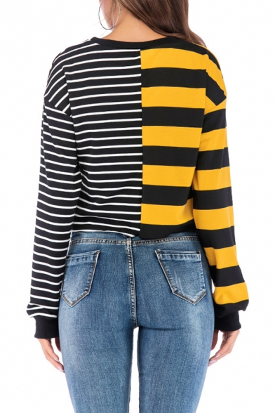 Fashion Colorblocked Stripe Pattern Round Neck Long Sleeve Cropped Sweatshirt