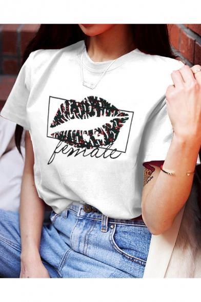 Fashion Letter FEMALE Lip Graphic Printed Round Neck Short Sleeve White Tee