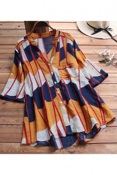 Fashion Orange and Navy Colorblock V-Neck Half Sleeve Button Down Casual Shirt